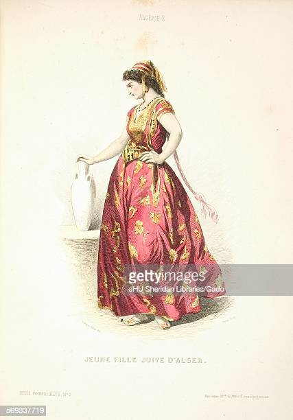 Color lithographic plate representing French and European costumes fashion and clothing published by Aubert for the Musee Cosmopolite Paris France...