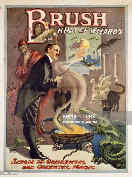 Color lithographic poster advertising Edwin Brush the King of Wizards and his school of Occidental and Oriental Magic 1890s