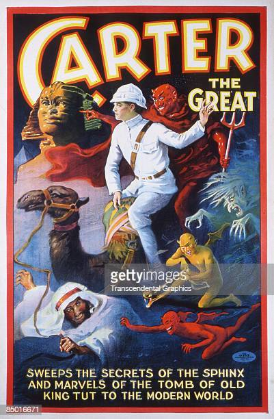 Color lithographic poster advertising the magician Carter the Great or Charles Carter The poster reads 'Carter the Great sweeps the secrets of the...