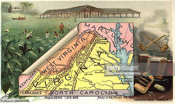 Color lithographic trade card published by Donaldson Brothers for Arbuckle Coffee depicting a map of the state of Virginia in the United States The...