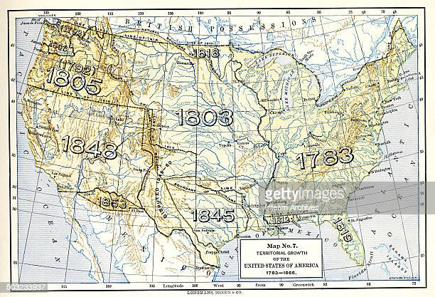 Color map entitled 'Map No 7 the Territorial Growth of the United States 1783 1866' shows the country's westward expansion and illustrates the notion...