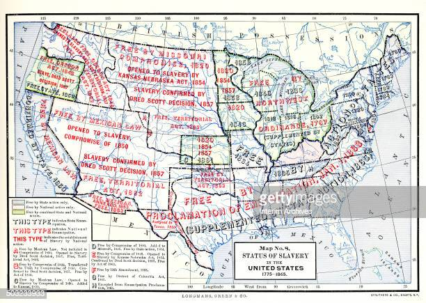 Color map entitled 'Map No 8 Status of Slavery in the United States 1775 1865' illustrates the territorial application of various slavery related...