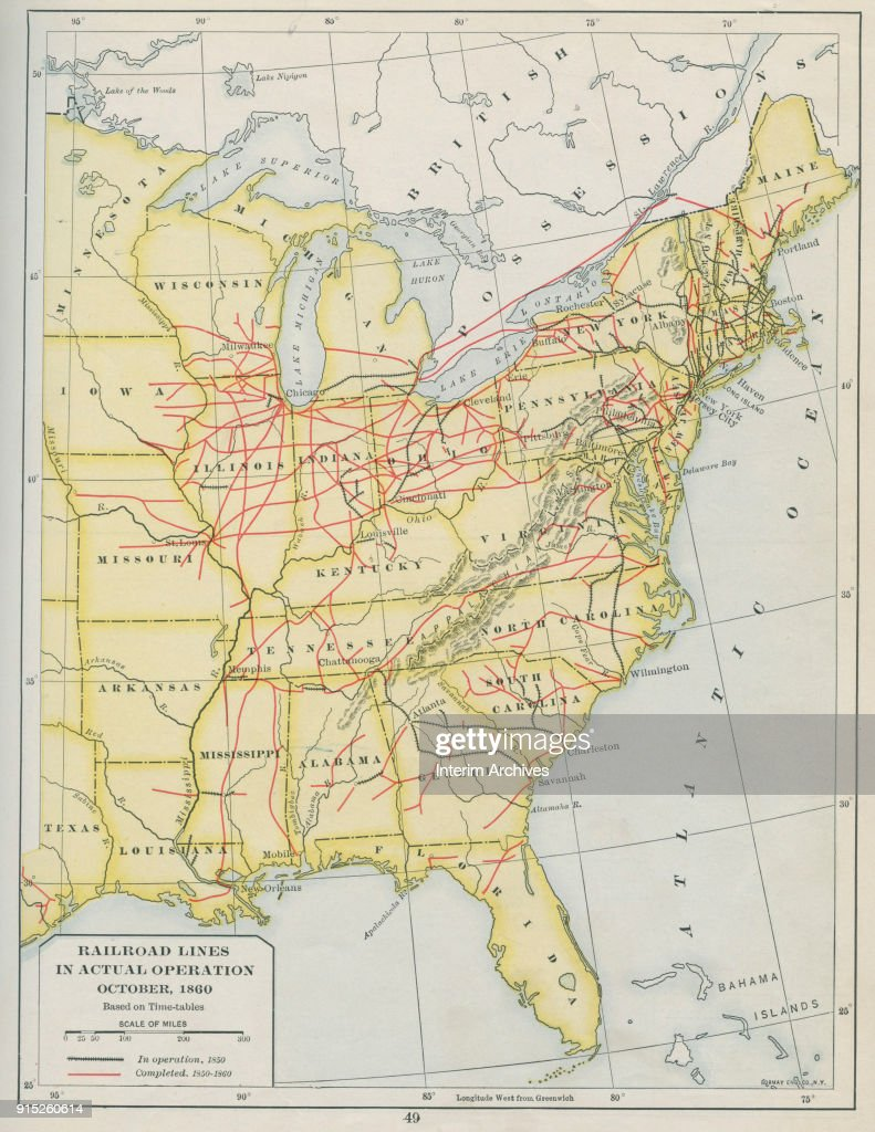 Map Of Railroad Lines In Actual Operation October Pictures - Map us railroads 1860