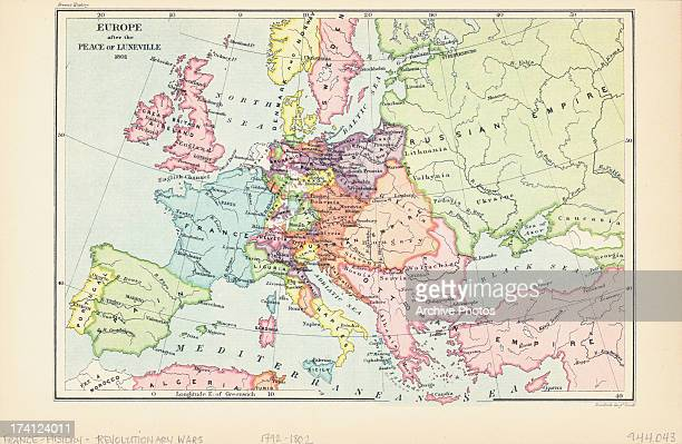 Color map of Europe after the peace of Luneville February 9th 1801