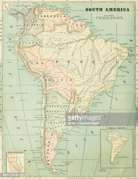 Color map of South America with a scale colorcoded regions and insets to illustrate comparative land mass and principal products from the volume...