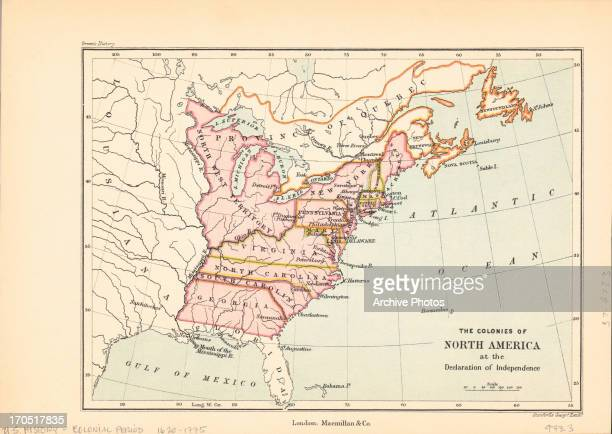 Color map of the colonies of North America at the time of the Declaration of Independence, including a number of modern day states in their...
