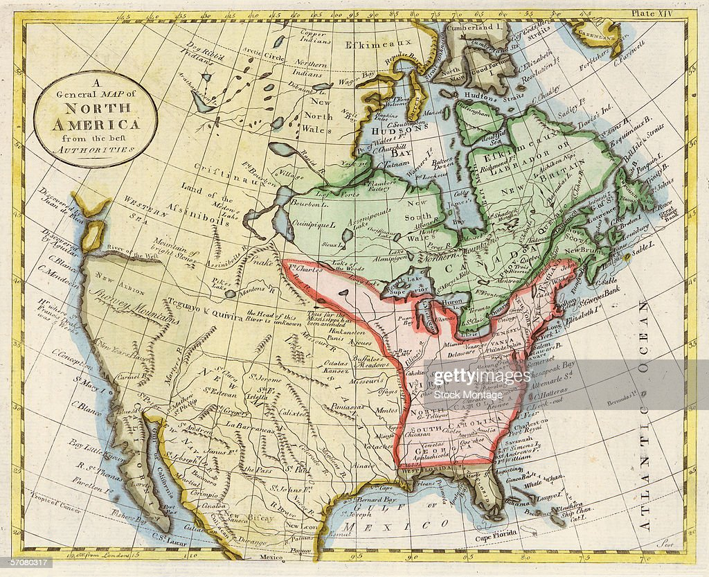 Color Map Of North America.Color Map Of The Continent Of North America 1798 News Photo