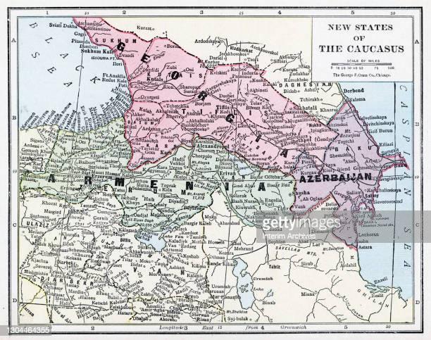 Color map of the new states of the Caucasus, Georgia, Armenia, and Azerbaijan, 1922.