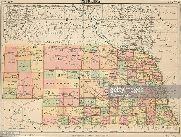 Color map of the state of Nebraska from the Encyclopedia Britannica circa 1890