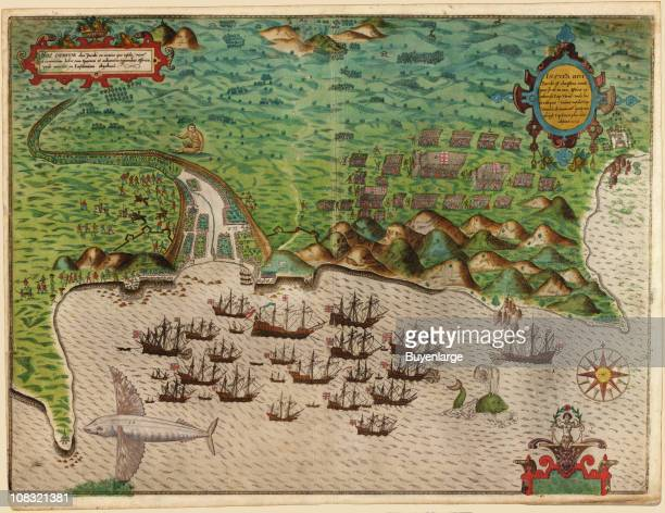 Color map showing a segment of Sir Francis Drake's West Indian voyage where the fleet of twenty three ships stopped at Santiago in Cape Verde off the...