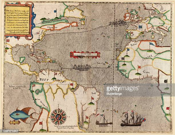 Color map showing Sir Francis Drake's West Indian voyage where he led a fleet comprised of twenty three ships from Plymouth through the towns of...