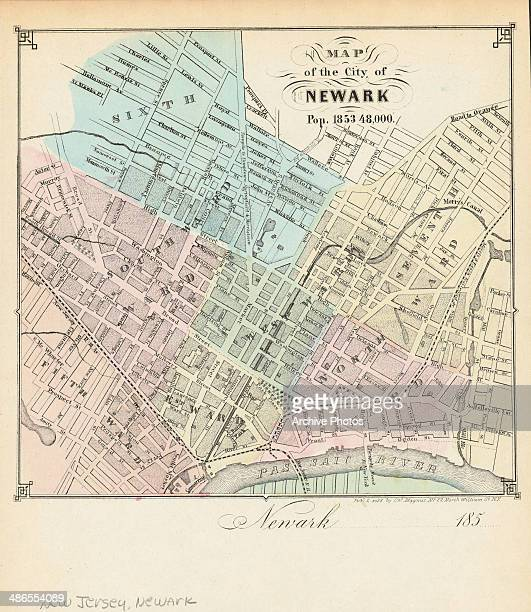 Color map with street names of the city of Newark New Jersey 1853