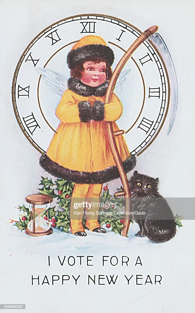 color new years greeting card depicting a small girl wearing a yellow dress with black