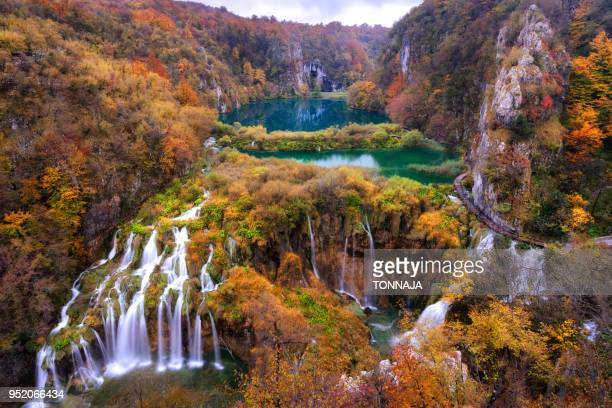 color of plitvice national park in autumn season, croatia - national park stock pictures, royalty-free photos & images