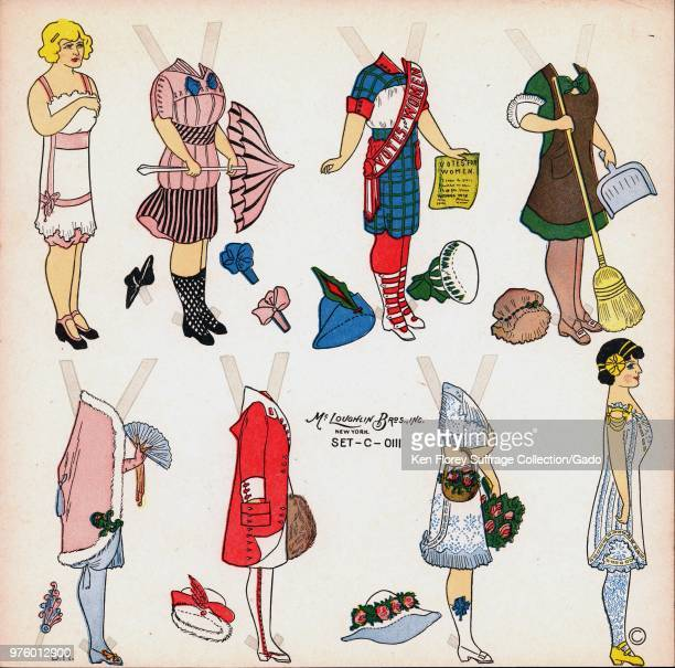Color paper doll set with a blonde doll and a variety of outfits including a suffrage uniform in red white blue and green with a sash pamphlet and...