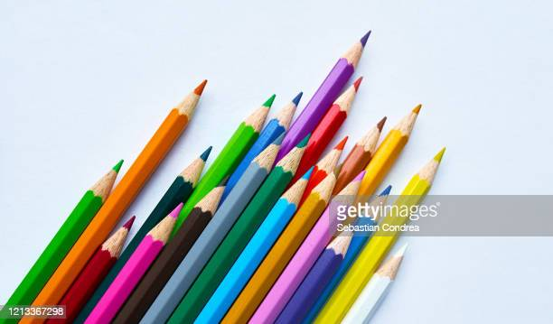 color pencils isolated on white background.close up. - crayon stock pictures, royalty-free photos & images