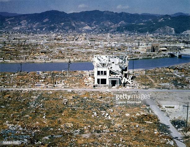 Color photograph showing damage in Hiroshima some eight months after the atomic bombing of August 6 1945 March 1946 A few buildings are still...