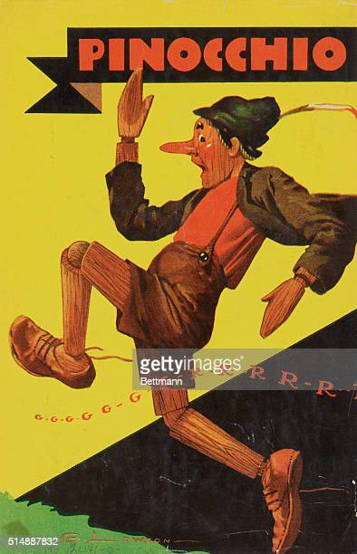 A color picture ca 1930 of the puppet Pinocchio running in fear