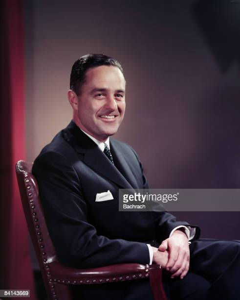 Color portrait of American politician and activist Robert Sargent Shriver Jr smiling while seated Chicago He was the first Director of the Peace...