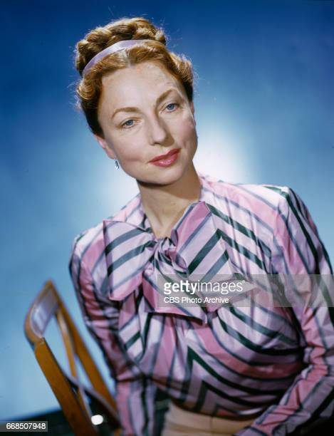 Color portrait of CBS Radio performer Agnes Moorehead March 1 1946 Hollywood CA