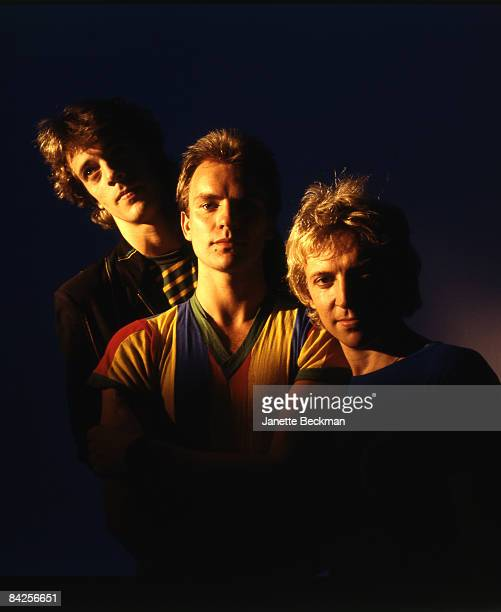 Color portrait of the music group 'The Police' drummer Stewart Copeland lead vocalist/bassist Sting and guitarist Andy Summers 1980 United Kingdom...