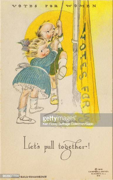 Color postcard depicting a little girl and a little boy working together to raise a yellow 'Votes For Women' pennant captioned 'Let's pull together'...