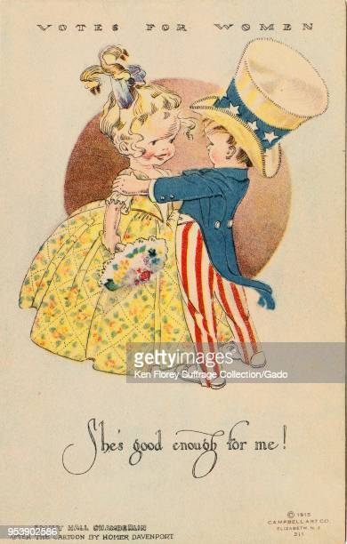 Color postcard depicting a little girl marrying a little boy dressed in the guise of Uncle Sam captioned 'She's good enough for me ' illustrated by...