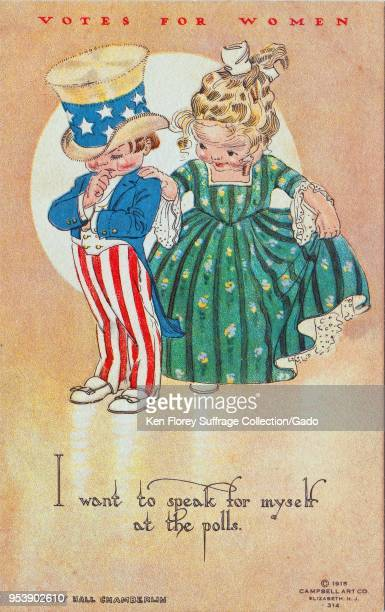 Color postcard depicting a little girl telling a little boy dressed in the guise of Uncle Sam 'I want to speak for myself at the polls ' illustrated...