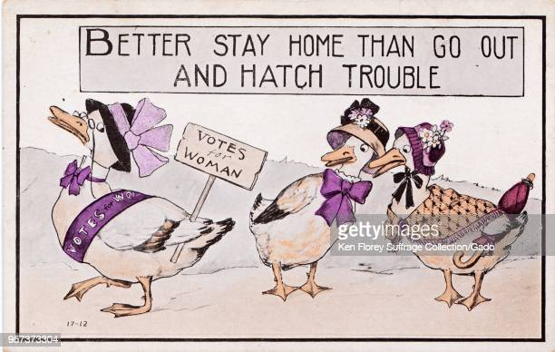 Color postcard depicting a pair of geese talking about a third goose who is campaigning for suffrage captioned 'Better stay home than go out and...