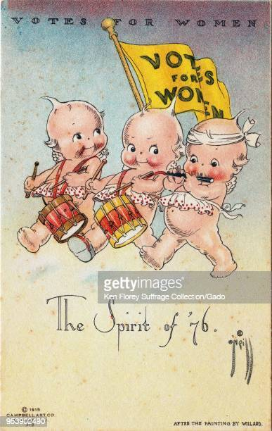 Color postcard depicting a three Kewpie dolls in the guise of revolutionaries playing instruments with a yellow 'Votes For our Women' pennant flying...