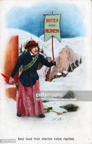 Color postcard depicting an unattractive woman walking in the snow while carrying a sign reading 'Votes For Women ' captioned 'And loud that clarion...