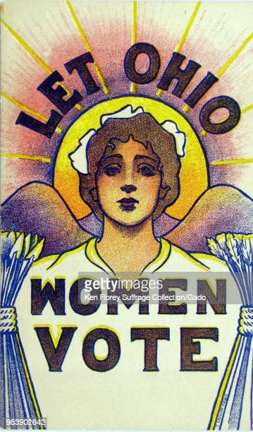 Color postcard depicting a woman with mountains sheaves of wheat and the rising sun forming a halo behind her head captioned 'Let Ohio Women Vote '...