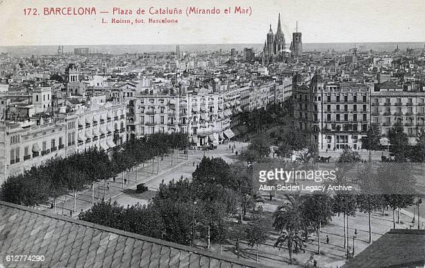 Color postcard looking over Plaza de Cataluna Barcelona Spain circa 1910