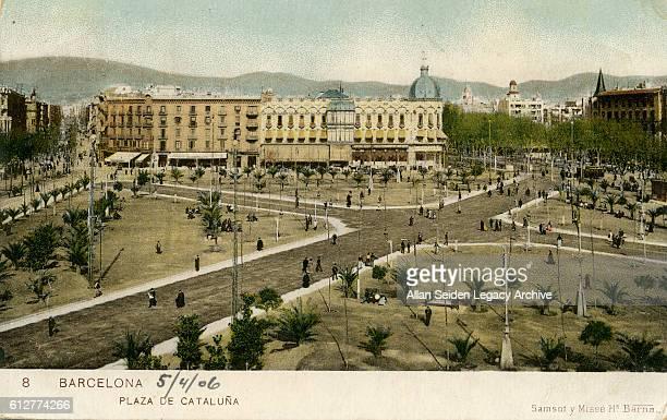 Color postcard of Plaza de Cataluna Barcelona Spain circa 1915