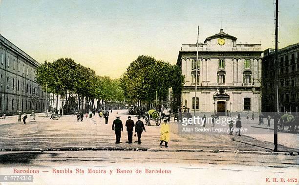 Color postcard of the Rambla Barcelona Spain circa 1905