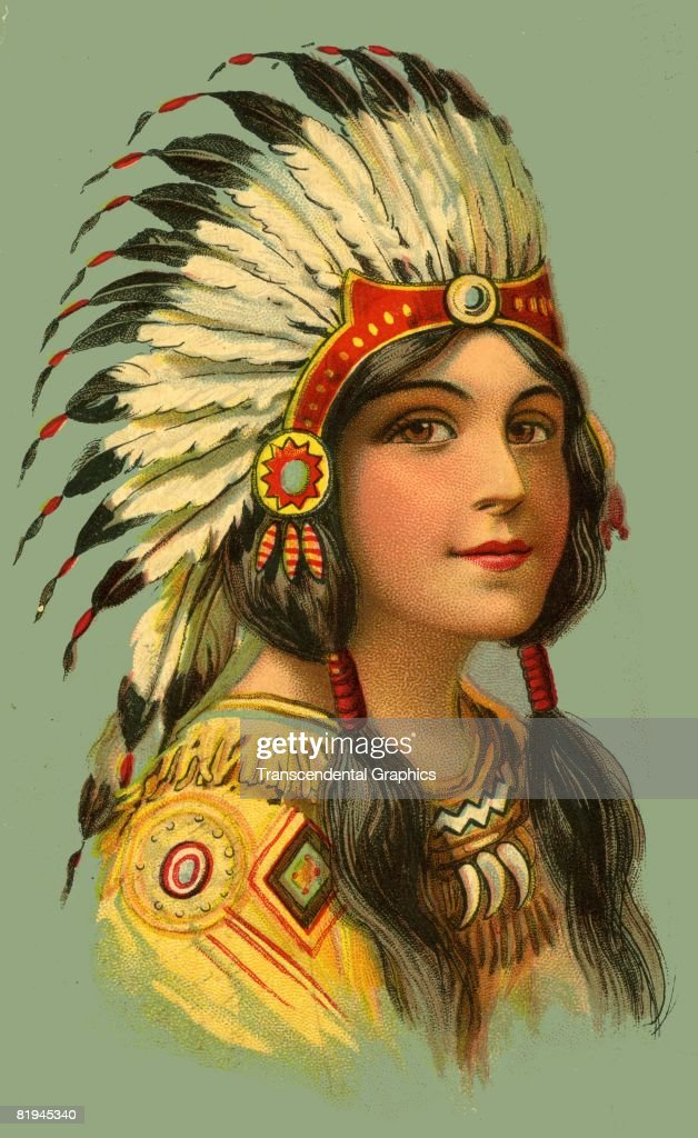 Color postcard showing a woman dressed in Native American ...