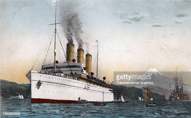 A color postcard shows the cruise liner the Empress of Russia near the Japanese shore with Mount Fuji in the background published circa 1910 in Tokyo...