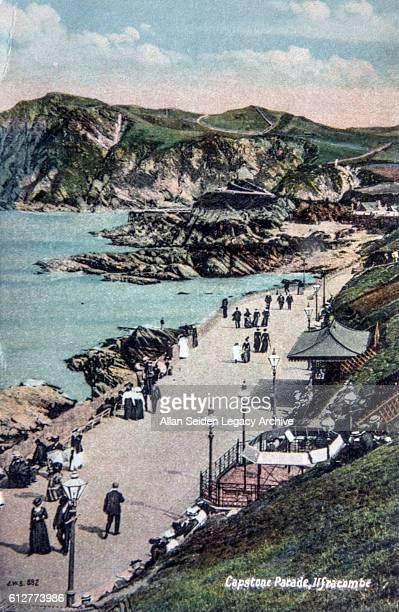 Color postcard view of Capstone Parade at a coastal resort Ilfracombe England circa 1915