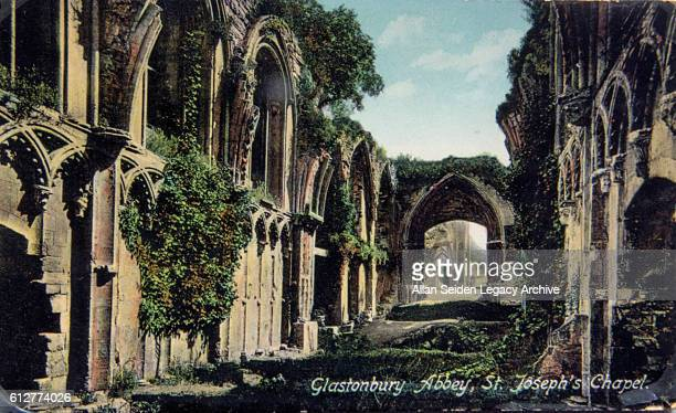 Color postcard view of Glastonbury Abbey ruins Glastonbury England circa 1915