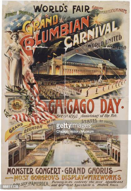 Color poster for the Chicago World's Fair or the World's Columbian Exposition of 1893 proclaiming Chicago Day on October 9th the anniversary of the...