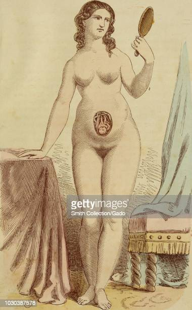 Color print depicting a nude pregnant woman standing in fulllength frontal view and looking at her face in a handheld mirror with a cutaway view of...
