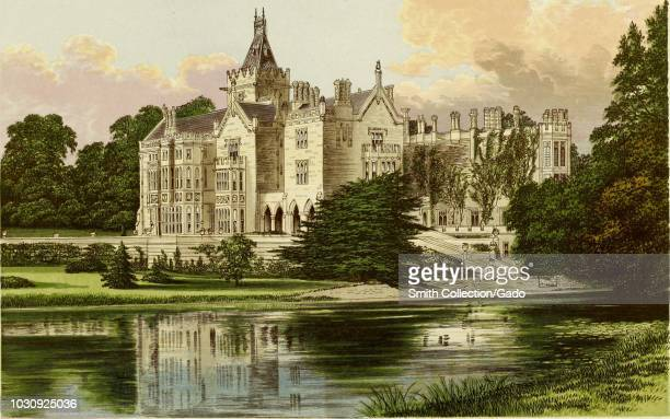 Color print depicting Adare Manor a 17thcentury calendar house with 365 windows 52 chimneys and a brick facade located next to the River Maigue in...