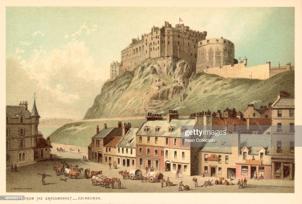 Color Print Depicting Edinburgh Castle As Viewed From Grassmarket Published By T Nelson
