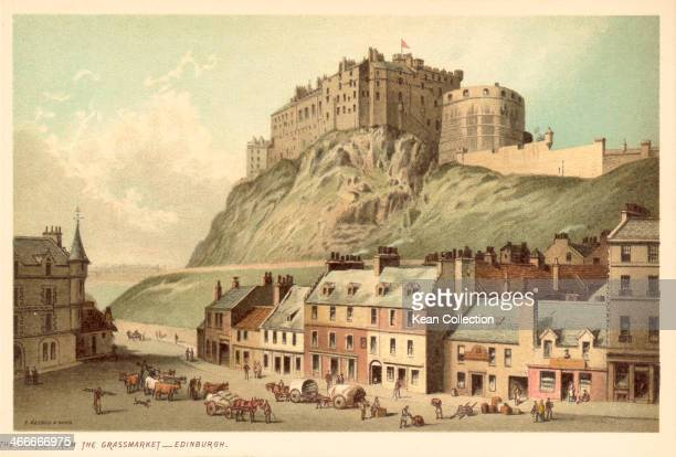 Color print depicting Edinburgh Castle as viewed from Grassmarket published by T Nelson and Sons Scotland