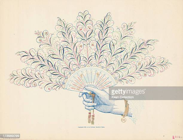 Color print from an ink drawing depicting a hand holding a feathered fan sketched 1884