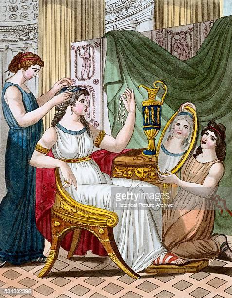 Color Print from Engraving Showing a Roman Lady's Toilette by Jacques Grasset de SaintSauveur and LF Labrousse