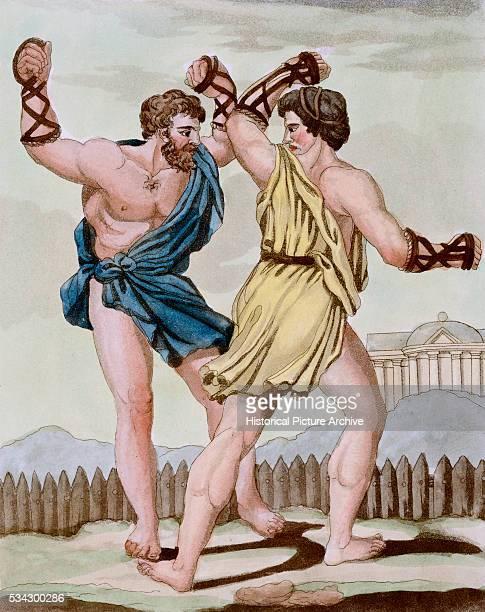 Color Print from Engraving Showing Gladiators Boxing by Jacques Grasset de SaintSauveur and LF Labrousse