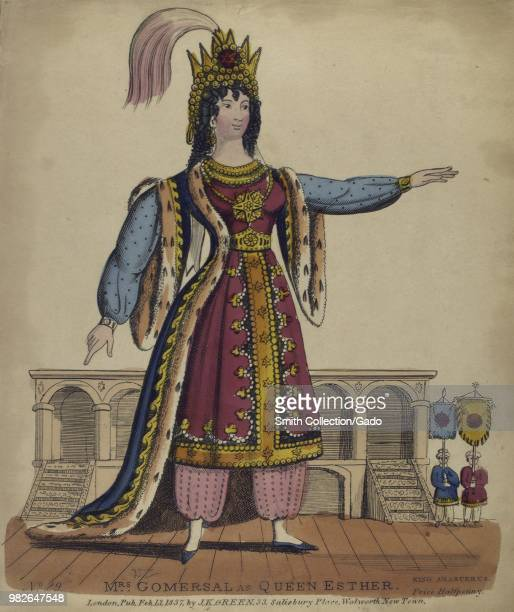 Color print likely a watercolour tinsel print handpainted and decorated with scraps of tinsel and other materials depicting a fulllength portrait of...