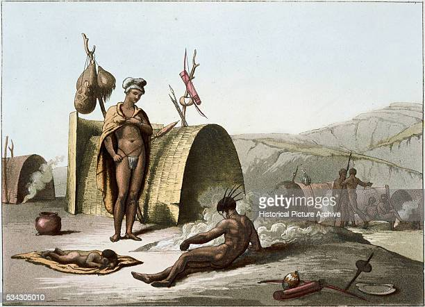 Color Print of Bushmen Camp Life by Gallo Gallina After John Barrow