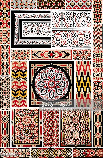 Color Print of Mosaic Style Patterns with Hexagons and Lattice Designs